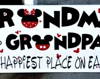 Disney, Disney wood sign, Grandma, Grandpa, The Happiest Place on Earth, wood sign, home decor, Disney gift