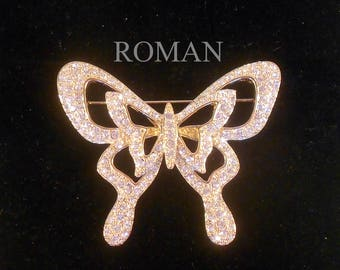 Brooch Pin Signed ROMAN Large Butterfly Encrusted With Rhinestones 3-Dimensional Statement Piece Gift For Her Free Shipping