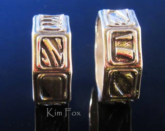 Geo Ring - 8 sided band ring with 8 different designs - unisex - designed by Kim Fox in Sterling Silver