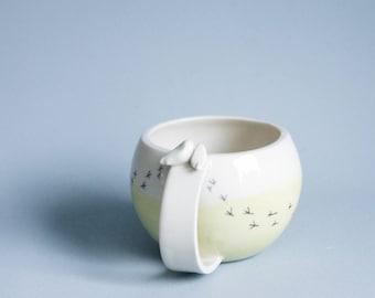 Keramik-Becher, weiß und gelb moderne Keramik und Töpferei, große Kaffeebecher Porzellan Vogel-Becher, Keramik-Geschenk für neues Zuhause, Paare Tassen,