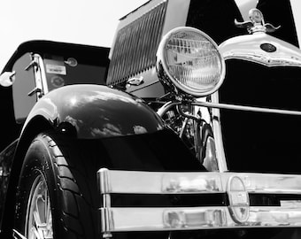 Classic Car Photography, 1929 Ford Pickup Hot Rod, Black and White Car Photography, Classic Vehicle Print