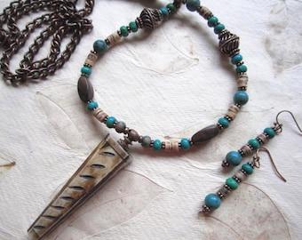 Boho Tribal Perfume Pendant Necklace, Earring set, long necklace, green Turquoise, vintage bone, copper, wood,coco heishi