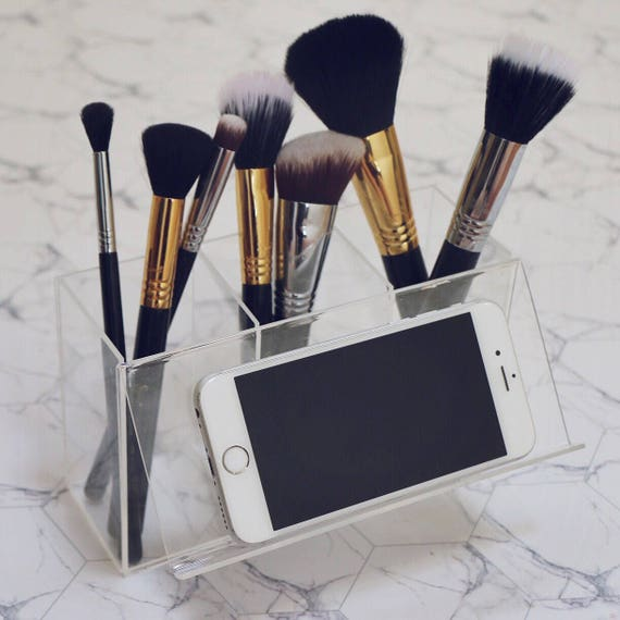 acrylic makeup brush holder with phone stand. Black Bedroom Furniture Sets. Home Design Ideas