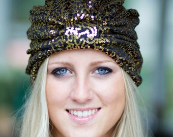 Sequin Turban in Gold and Black - Women's Full Turban Hair Wrap - Turbans for Women - Lots of Colors