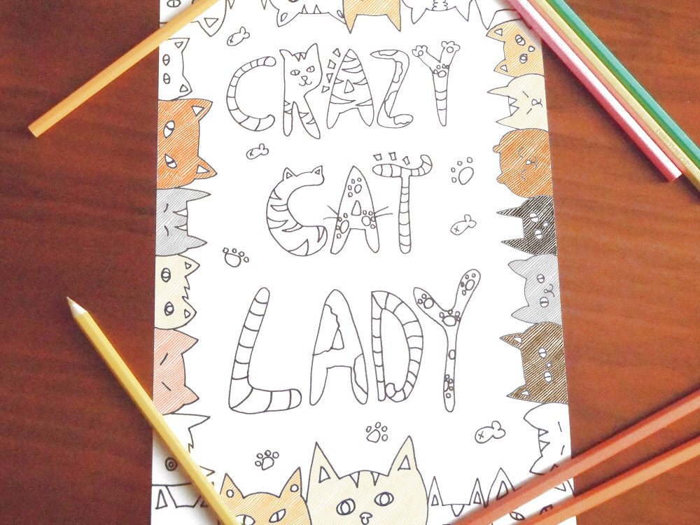 crazy cat lady adult coloring page instant download colouring