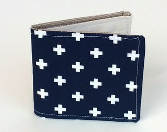 Vegan Wallet in Navy Blue with Swiss Cross, ready to ship Slim cotton wallet, Vegan wallet, Classic and preppy for Summer, Men Women or Kids
