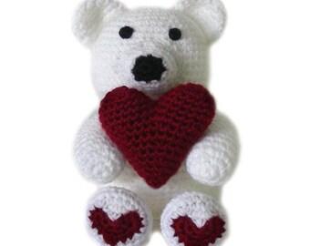 Heart Teddy Bear  - PDF Crochet Pattern - Instant Download