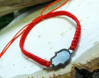 Stainless Steel Mother of Pearl Hamsa Red String Bracelet