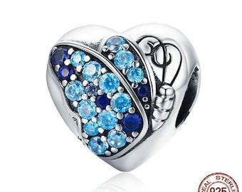 Butterfly Flower Love Heart Charm