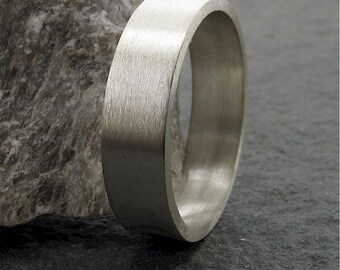 Wedding ring, mans silver 6mm wedding band with brushed finish for a man or woman