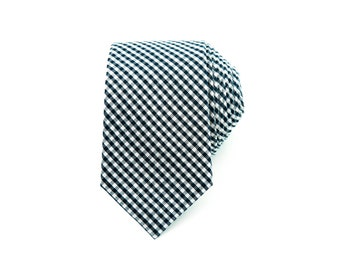 navy white gingham checkered tie for men groomsmen suit classic ties