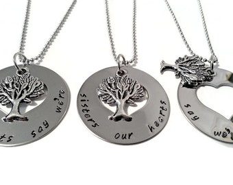 Three Matching Sister necklaces, necklace SET for THREE sisters, sister jewelry, our roots say we're sisters our hearts say we're friends