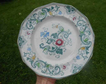 "One Teal Green Transferware White Ironstone Plate ""Aurora"" F. Morley and Co Polychrome Multicolored Paneled Transfer Ware Plate 9 1/4 inches"