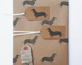 Sausage Dog Wrapping Paper Set (Essentials Option): 1 Sheet Kraft Gift Wrap with Dachshunds, 2 Gift Tags, 5m Hemp Twine.