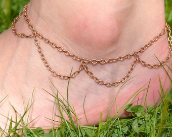 Copper Chain Anklet - Belly Dancer Jewelry - Boho Ankle Bracelet - Chain Link Jewelry - Lace Anklet - Beach Anklets - Foot Jewelry