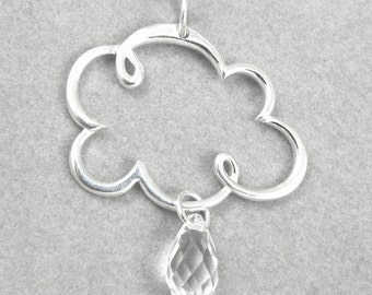 Rainy Day Rain Clouds Sterling Silver Charm Necklace Crystal RainDropk