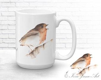ROBIN Mug Watercolor Ceramic Mug/ Coffee Mug Bird Print / Tea Cup Bird Illustration / Original Art Mug/ Wildlife Animal Mug / Mug Bird Gift