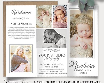 Newborn Photography Guide Template, Trifold Brochure Photoshop Template, Client Welcome Guide, Flyer,  Pricing Guide, Price List sku tw-4