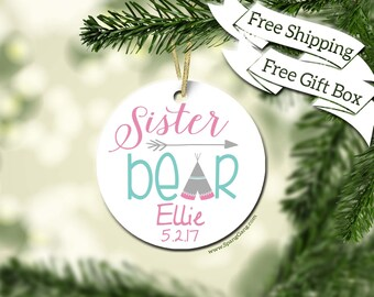 Big Sister Gift | Big Sister to Be | Sister Christmas Ornament | New Sister Gift | Pregnancy Christmas Announcement | Gender Reveal Idea