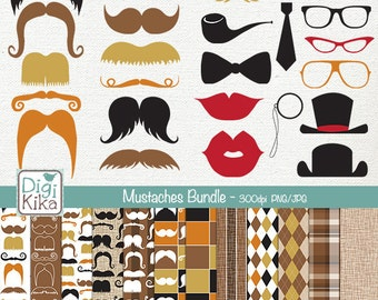 Mustaches Digital Bundle - Clipart and Paper Pack - scrapbooking , invitations, photo album, paper crafts, design - Instant Download
