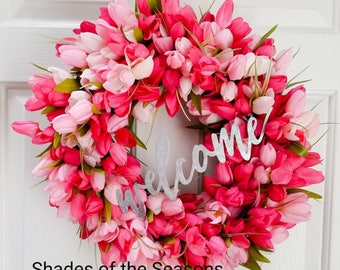 Tulip Wreath, Pink Tulip Wreath, Spring Tulip Wreath, Summer Tulip Wreath, Tulip Door Wreath, Grapevine Floral Wreath, Pink Tulips, Welcome