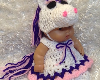 10 Inch Doll clothes,8 inch Doll Clothes,Unicorn Dress Set,Gifts for Kids,Hat ,dress and shoes