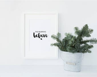 Personalised We believe Family Christmas / Festive Shelfie Decorative print