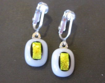 Dangle Clip Earrings, White and Gold, Dangle Clip On Earrings, Dichroic Fused Glass Jewelry, Ready to Ship - Saco - 1664 -2