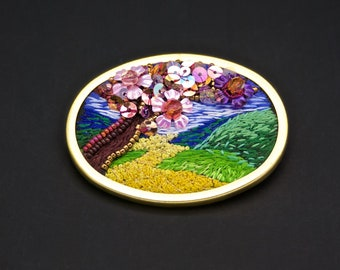 Brooch landscape silk sequins embroidery