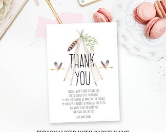 Pow wow Baby shower thank you card, Tee Pee thank you card, printable, thank you note, penpenpaper