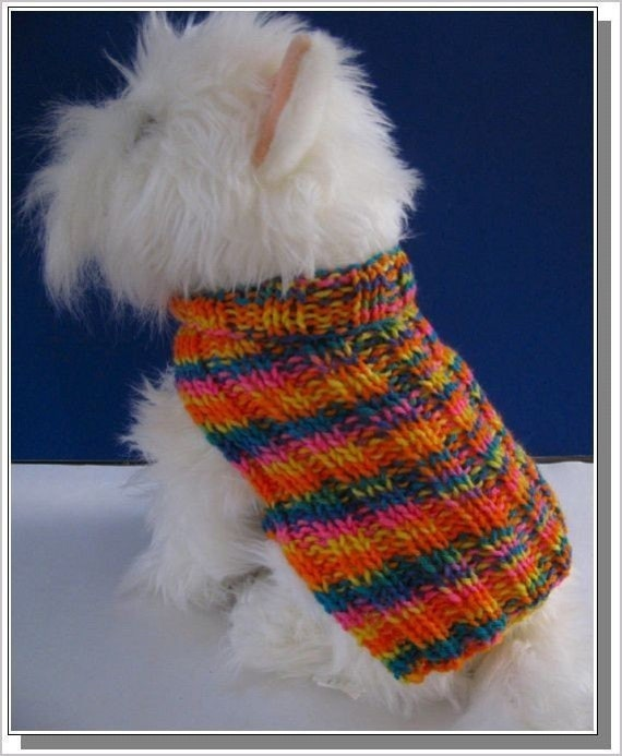 Dog Sweater Knitting Pattern Basic Ribbed Design Very Easy To
