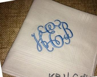 Monogrammed Something Blue Handkerchief
