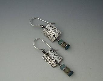 Roman Glass Earrings, Silver Earrings, Textured Earrings, Handmade Earrings, Square Shape Earring, Dangle Earrings, E-RG-1