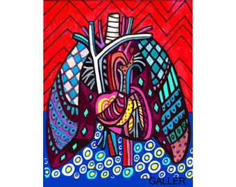 Anatomy art  Art Print Poster by Heather Galler of Modern Abstract Medical Heart Lungs (HG130)