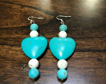 Turquoise Heart Ear Rings