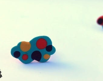 Cloud ring with dots of polymer clay