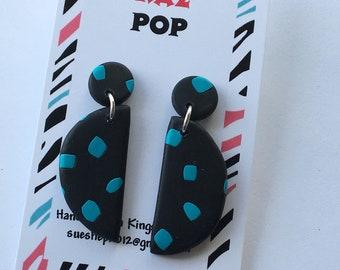 Half moon dangle earrings half circle earrings black statement earrings polymer clay earrings black earrings half circle dangle