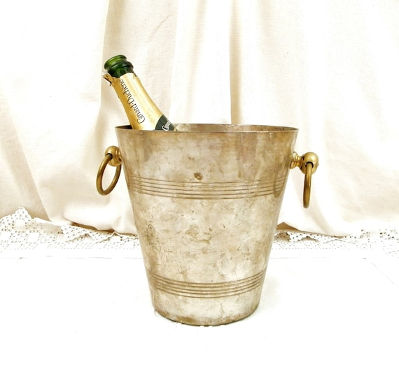 Vintage French Silver Plated Brass Champagne Ice Bucket with 2 Loop Handles, Retro Wine Bottle Cooler from France, Chateau Shabby Chic