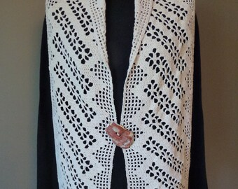 Upcycled Crochet Vest Shawl with Abalone Shell Closure