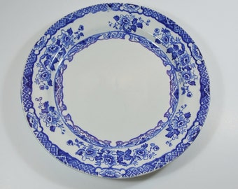 Antique/Vintage Blue and White Floral Dinner Plate