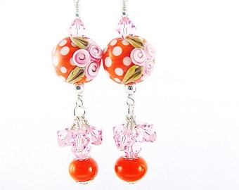 Flower Lampwork Earrings, Orange Polka Dot Statement Earrings, Pink Dangle Earrings, Glass Bead Earrings, Beadwork Earring, Lampwork Jewelry