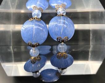 Venetian Glass Latticino Necklace French Blue