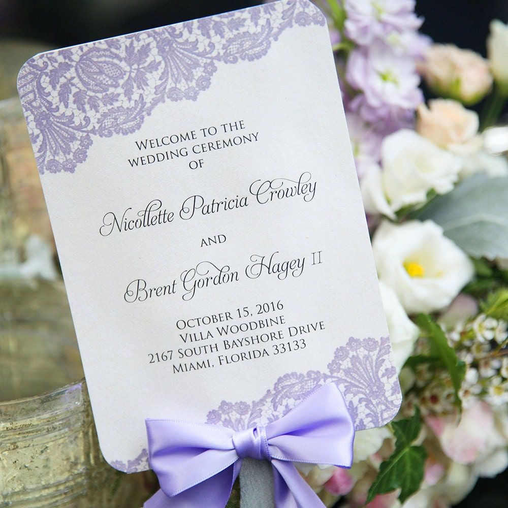 Fan Wedding Program with Bow - Ivory and Lavender Lace with Lavender ...