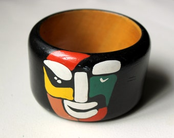 1980s Italian Missoni wood bracelet with multicolor hand painted iconic smiling face