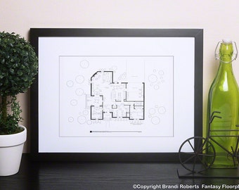 Jill and Tim Taylor Home Improvement Floor Plan - Famous TV Show Floor Plan - Blackline Poster - Architectural art gift for him