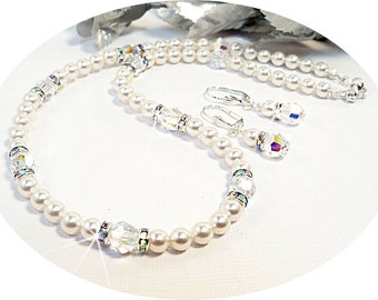 Necklace, Earrings, Wedding Jewelry, Pearl Jewelry, Crystal and Pearls, Bridal Jewelry, Bridesmaid Jewelry, Bridal Accessories, Rhinestones