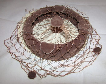 Vintage Light Brown Velvet Ladies Pillbox Halo Hat with Net, 50s, chic, sophisticated, fashion, accessory
