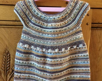 Hand Knitted Merino Wool Baby Dress (3-6mths)