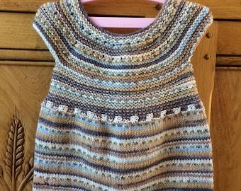 Tricoté à la main robe bébé en laine mérinos (3-6mois)