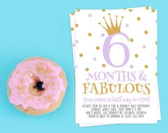 Half Birthday Invitation. 1/2 Birthday invitation. Half Birthday Celebration. Half Birthday Bash. Half Birthday. 6 Months Birthday.